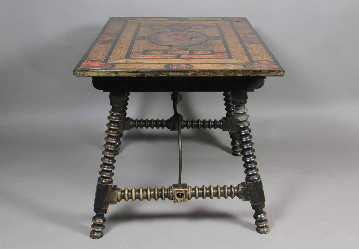 Spanish Baroque Rosewood And Faux Tortoiseshell Coffee Table Image 2