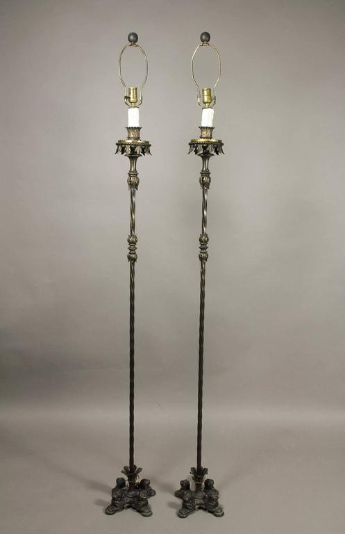 19th Century Pair of Renaissance Revival Cast Iron and Bronze Floor Lamps For Sale