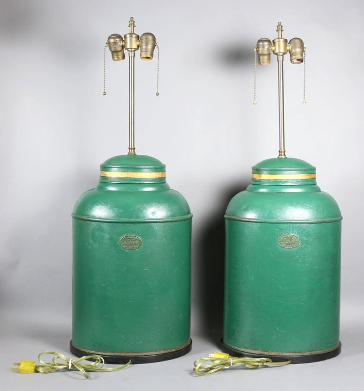 Pair of Victorian Tole Tea Canister Table Lamps For Sale 1