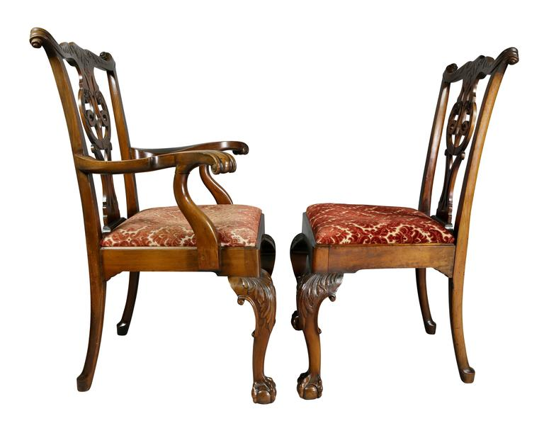 Set of Eight Waring And Gillow George III Style Mahogany Dining Chairs For Sale 3