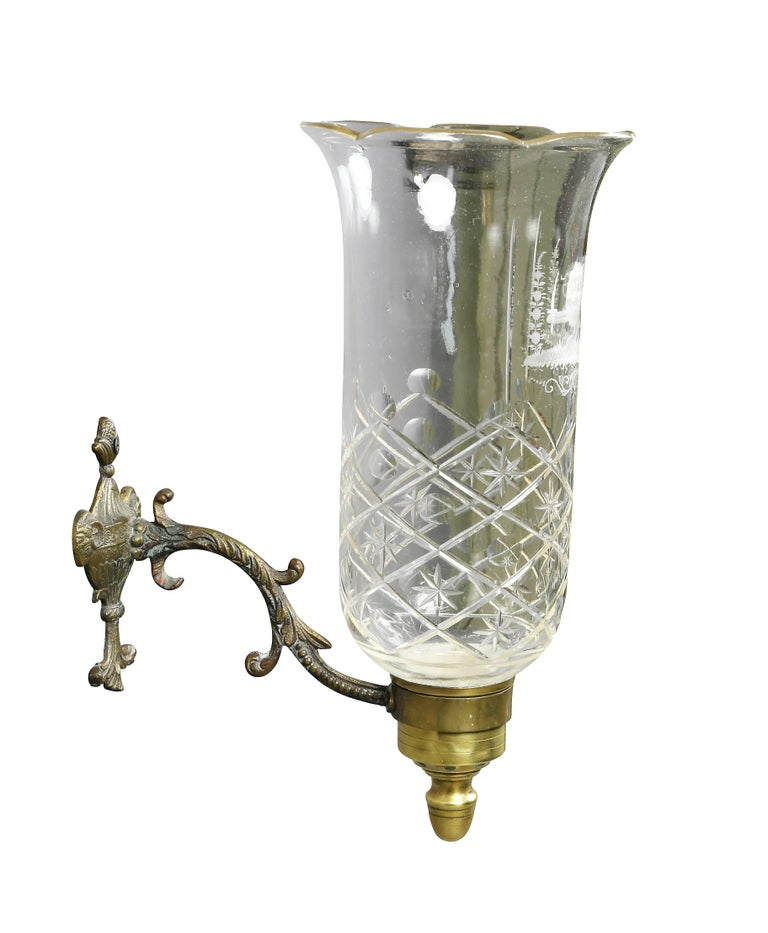 Etched Glass Wall Lights : Pair of Regency Brass, Etched and Cut-Glass Hurricane Wall Sconces For Sale at 1stdibs