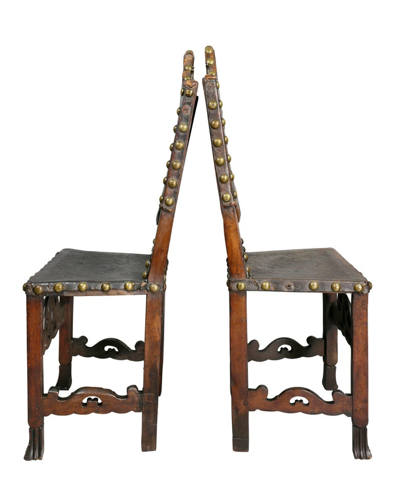 Pair of Portuguese Baroque Walnut Side Chairs For Sale 4
