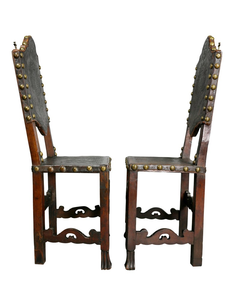 Pair of Portuguese Baroque Walnut Side Chairs For Sale 5