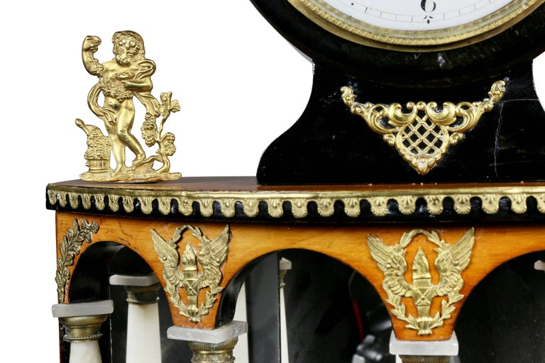 Early 19th Century Biedermeier Pearwood and Bronze Mounted Mantle Clock