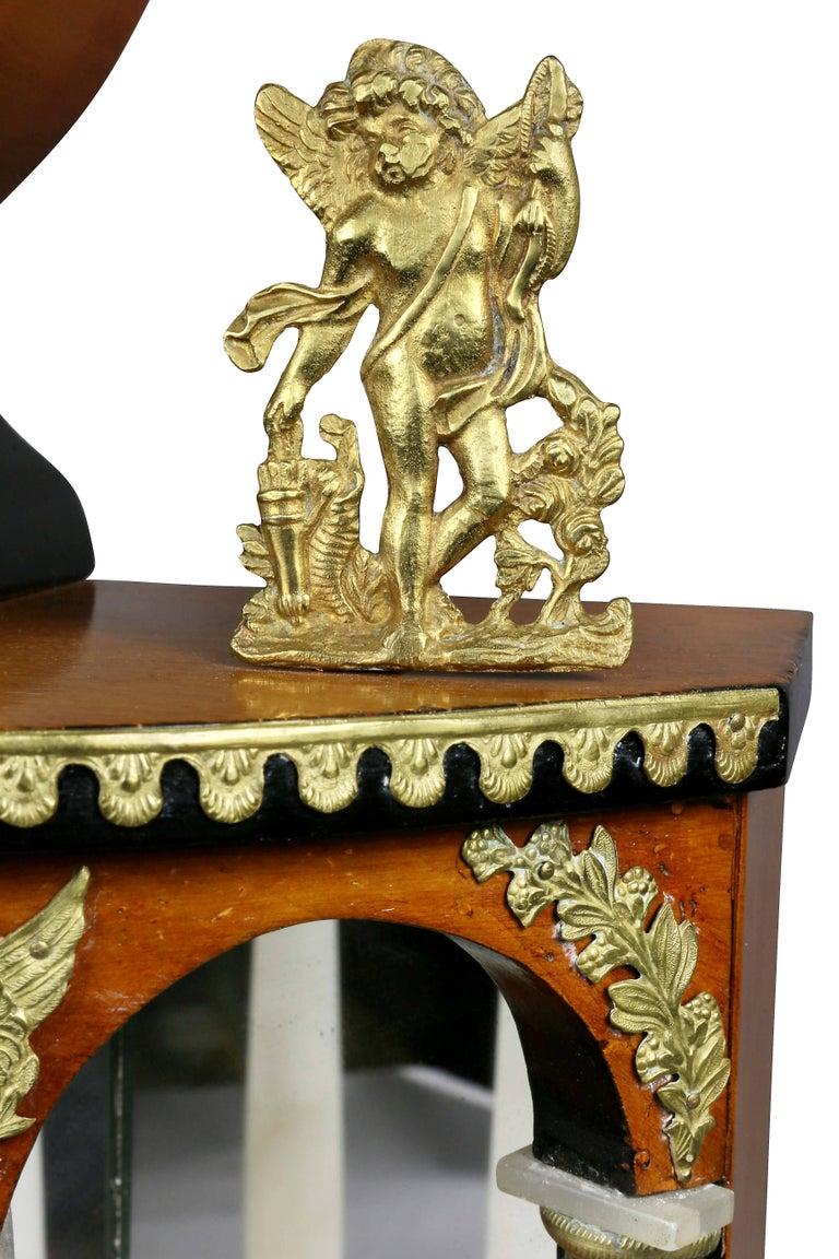 Biedermeier Pearwood and Bronze Mounted Mantle Clock 1