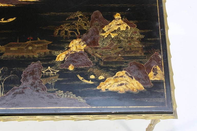 Black Lacquered Chinoiserie Coffee Table by Maison Baguès In Good Condition For Sale In Pembroke, MA