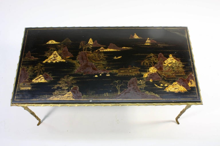 French Black Lacquered Chinoiserie Coffee Table by Maison Baguès For Sale