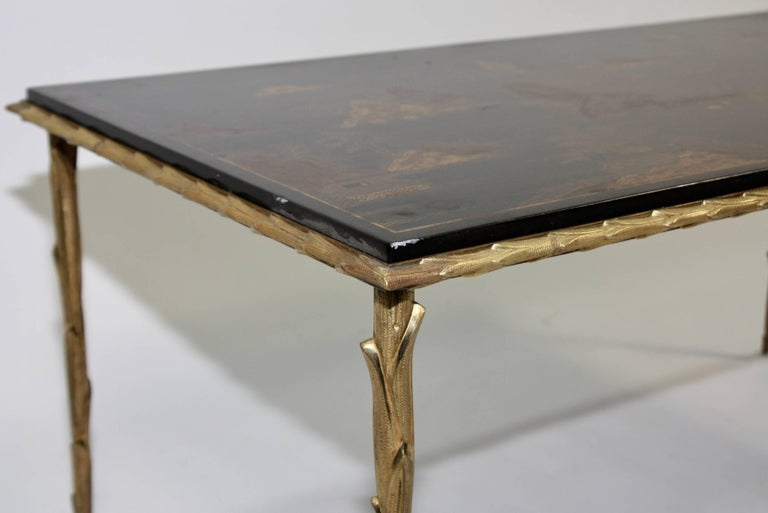 Black Lacquered Chinoiserie Coffee Table by Maison Baguès For Sale 2