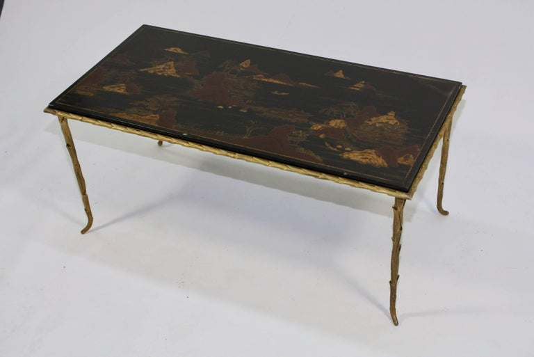 Mid-Century Modern Black Lacquered Chinoiserie Coffee Table by Maison Baguès For Sale