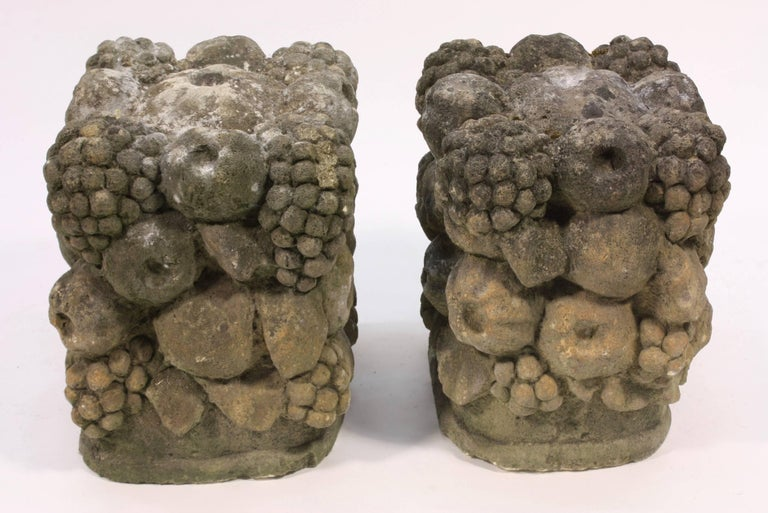 Pair of 19th Century Carved Stone Garden Seats For Sale 2