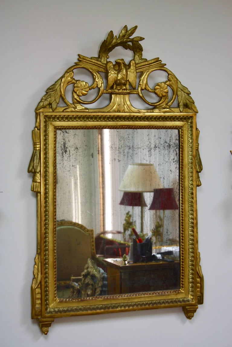 French Louis XVI Period Trumeau Mirror with Eagle For Sale