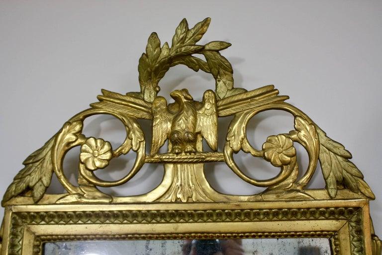 Gilt Louis XVI Period Trumeau Mirror with Eagle For Sale