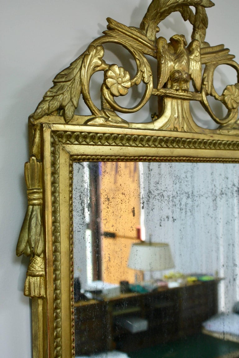18th Century Louis XVI Period Trumeau Mirror with Eagle For Sale