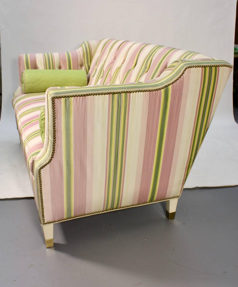 Painted Custom Upholstered Sofa in Striped Silk Fabric by Scalamandre For Sale