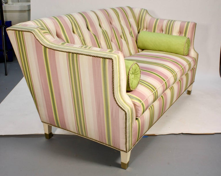 American Custom Upholstered Sofa in Striped Silk Fabric by Scalamandre For Sale