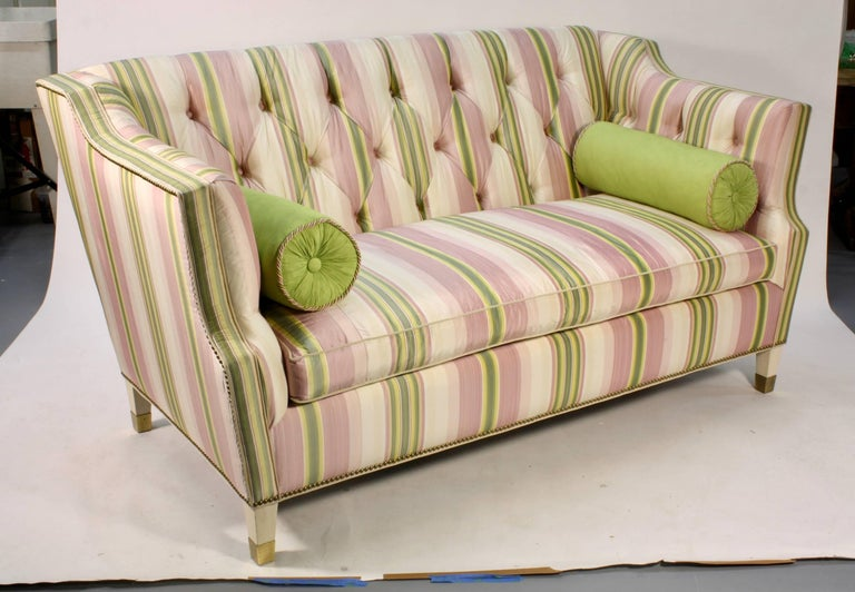 Mid-Century Modern Custom Upholstered Sofa in Striped Silk Fabric by Scalamandre For Sale