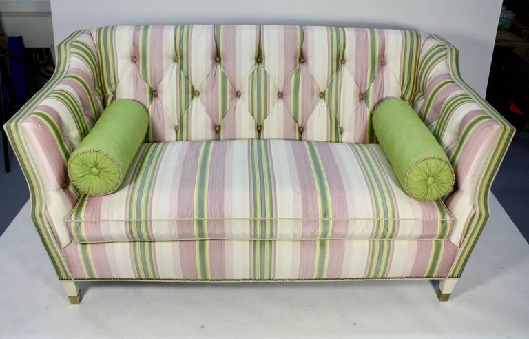 Contemporary Custom Upholstered Sofa in Striped Silk Fabric by Scalamandre For Sale