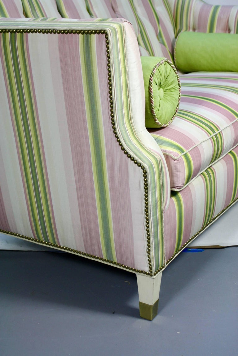 Custom Upholstered Sofa in Striped Silk Fabric by Scalamandre In Excellent Condition For Sale In Pembroke, MA