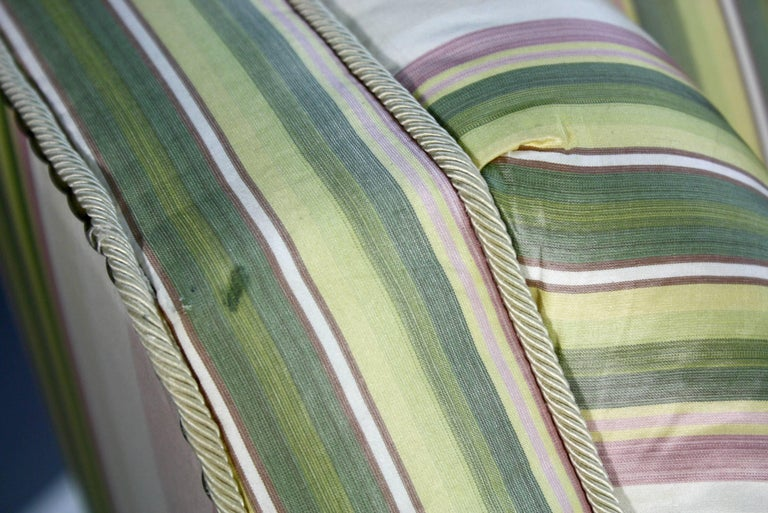Custom Upholstered Sofa in Striped Silk Fabric by Scalamandre For Sale 2