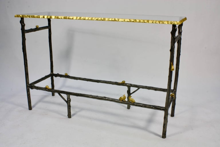 French Faux Twig Console Table with Gilt-Bronze Snails and Rusticated Glass Top For Sale
