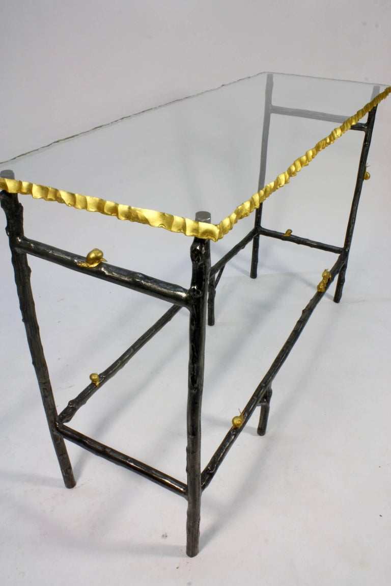 Unusual Faux Twig Console Table with Gilt-Bronze Snails and Rusticated Glass Top In Excellent Condition For Sale In Pembroke, MA