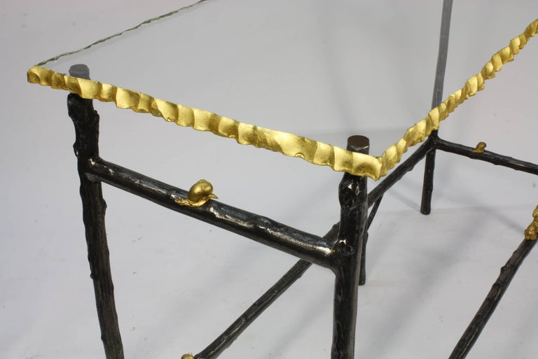 Contemporary Unusual Faux Twig Console Table with Gilt-Bronze Snails and Rusticated Glass Top For Sale