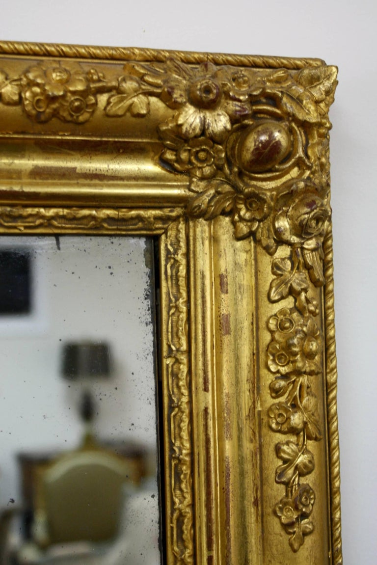 Gesso French Charles X Period Giltwood Mirror For Sale