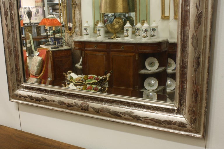 19th Century French Louis-Philippe Silver-Gilt Mirror with Vine Decoration and Bevelled Glass For Sale