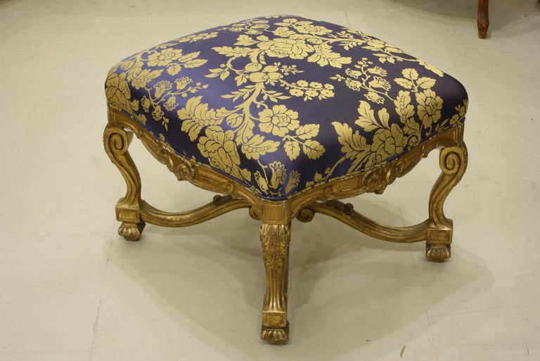 French Regence Style Carved Giltwood Stool, Tabouret or Ottoman For Sale 2