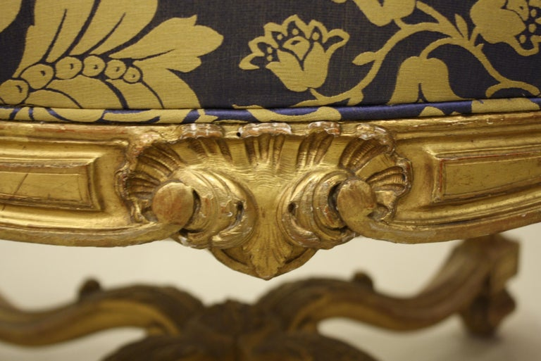 French Regence Style Carved Giltwood Stool, Tabouret or Ottoman For Sale 3
