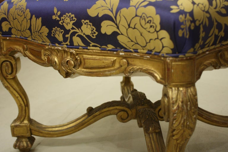 French Regence Style Carved Giltwood Stool, Tabouret or Ottoman For Sale 5