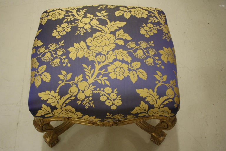 French Regence Style Carved Giltwood Stool, Tabouret or Ottoman For Sale 6