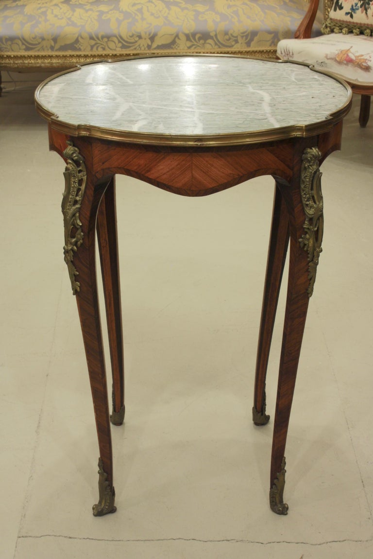 Gilt French Louis XV Style Parquetry Gueridon Stand with Marble Top For Sale