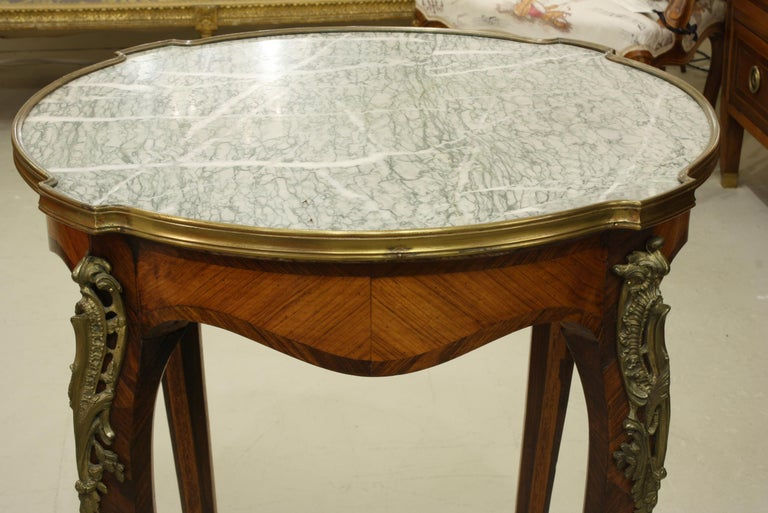 Kingwood French Louis XV Style Parquetry Gueridon Stand with Marble Top For Sale