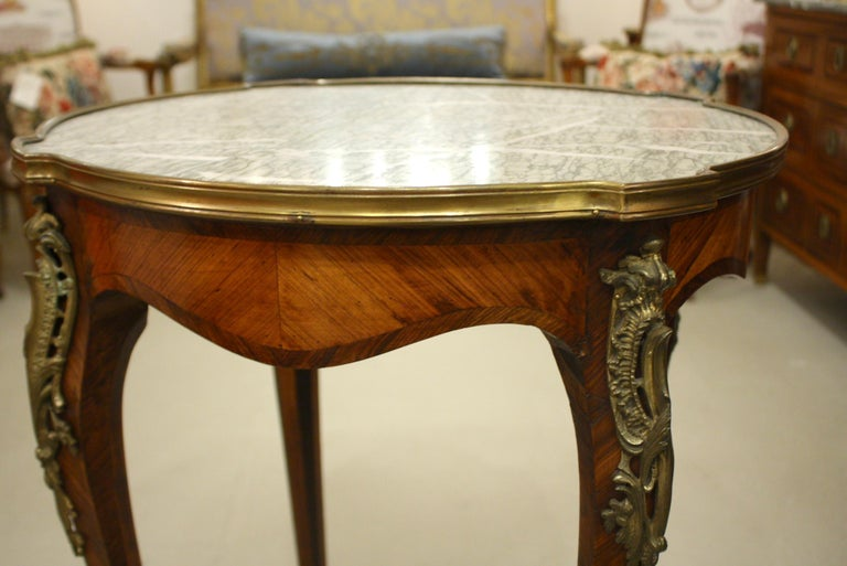 French Louis XV Style Parquetry Gueridon Stand with Marble Top For Sale 2