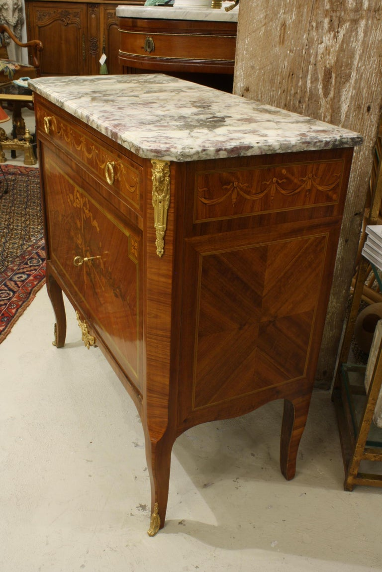 French 19th Century Marquetry Commode with Marble Top For Sale 2