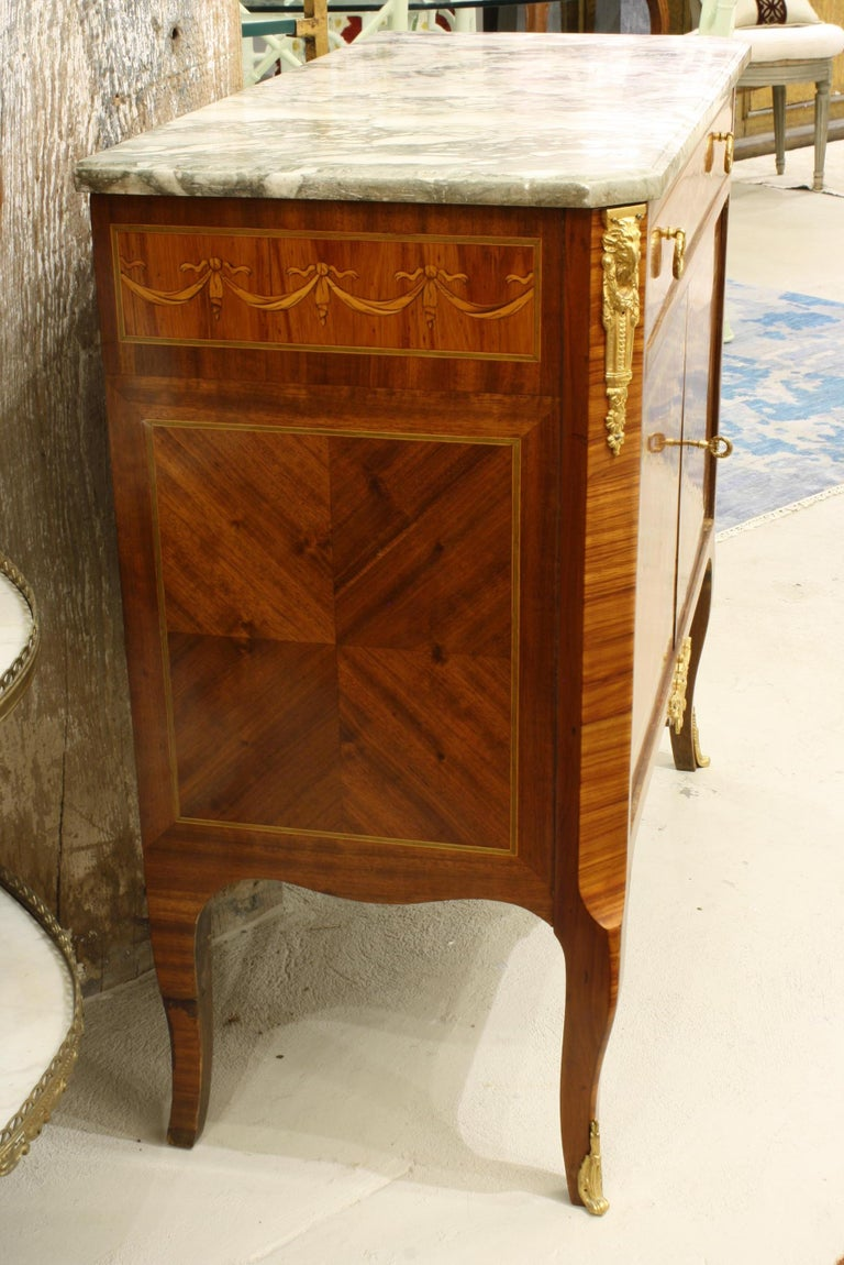 Oak French 19th Century Marquetry Commode with Marble Top For Sale