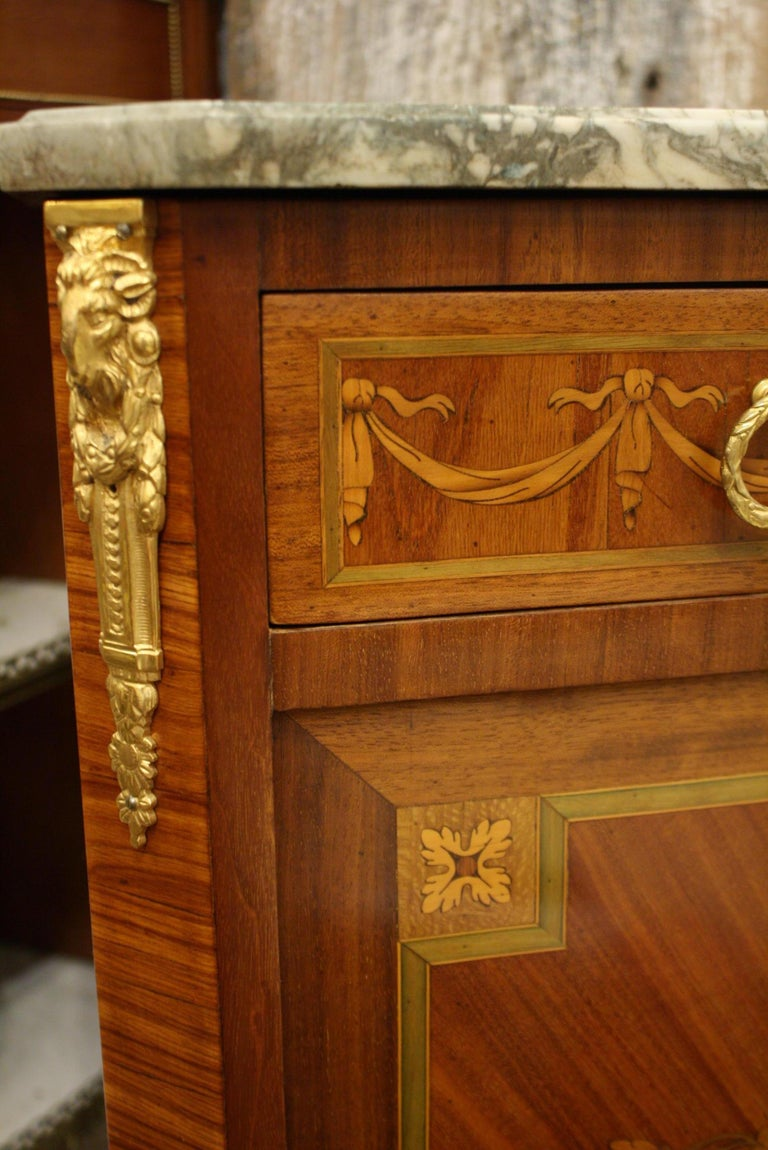 French 19th Century Marquetry Commode with Marble Top For Sale 7