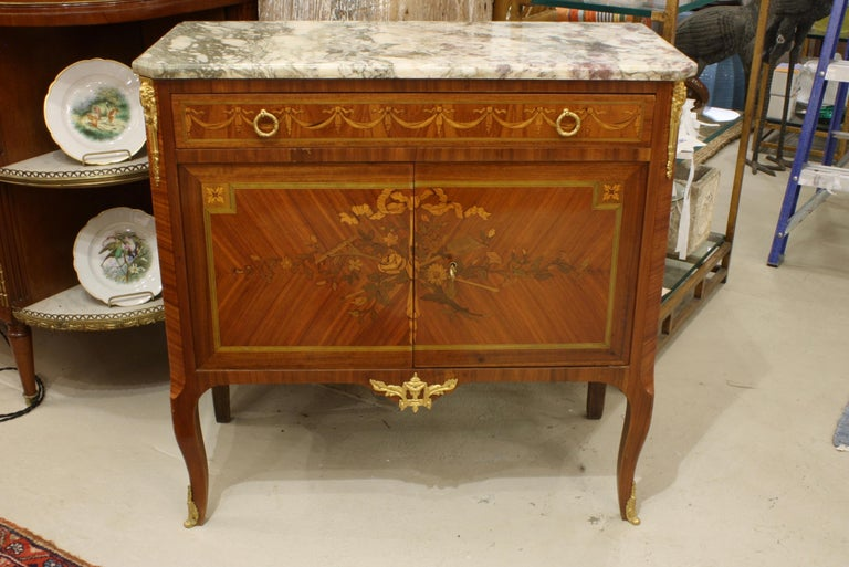 Napoleon III French 19th Century Marquetry Commode with Marble Top For Sale