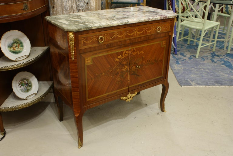 French 19th Century Marquetry Commode with Marble Top In Good Condition For Sale In Pembroke, MA