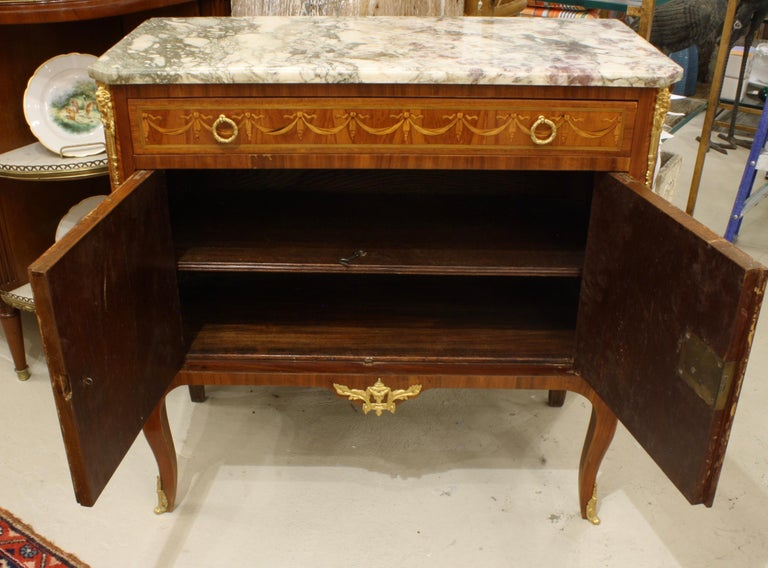 French 19th Century Marquetry Commode with Marble Top For Sale 1