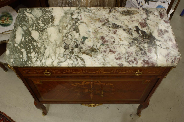 French 19th Century Marquetry Commode with Marble Top For Sale 3