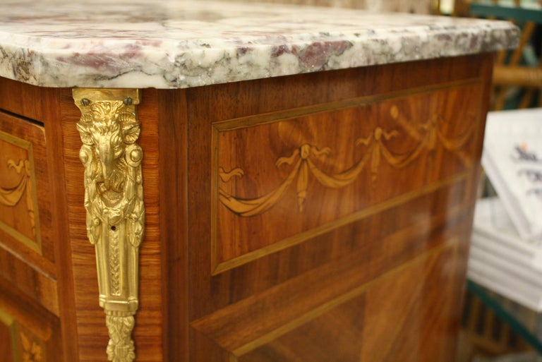 French 19th Century Marquetry Commode with Marble Top For Sale 6