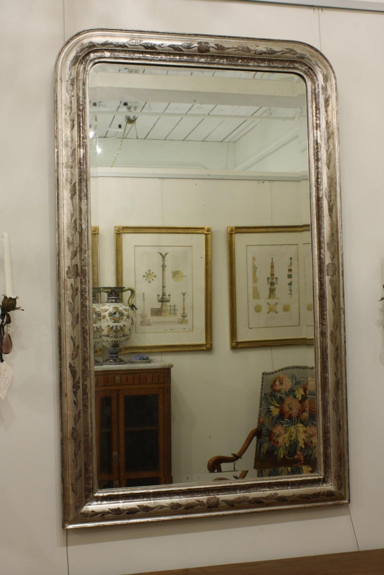 Louis Philippe French Louis-Philippe Silver-Gilt Mirror with Vine Decoration and Bevelled Glass For Sale
