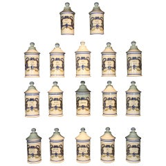 Set French Porcelain Apothecary Jars with Painted Decoration and Mark
