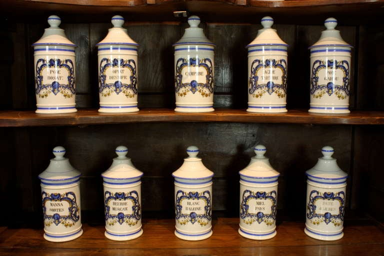 Belle Époque Set French Porcelain Apothecary Jars with Painted Decoration and Mark For Sale