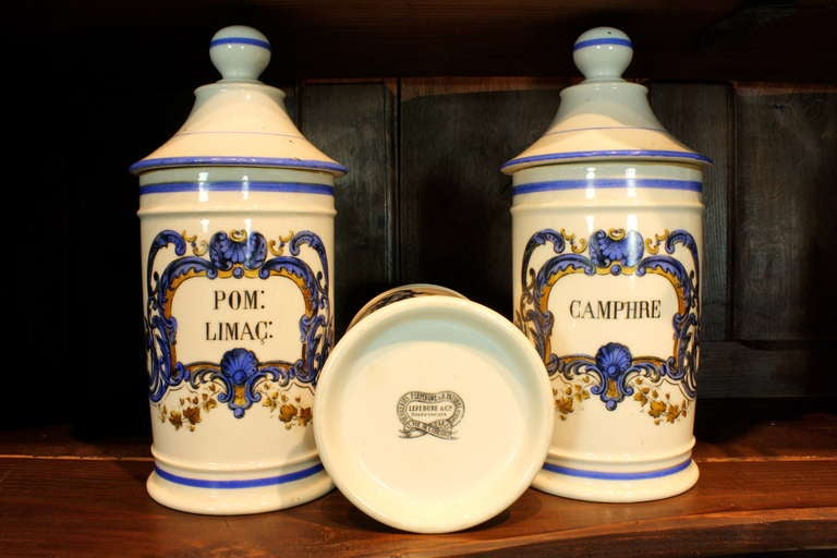 Set French Porcelain Apothecary Jars with Painted Decoration and Mark For Sale 2