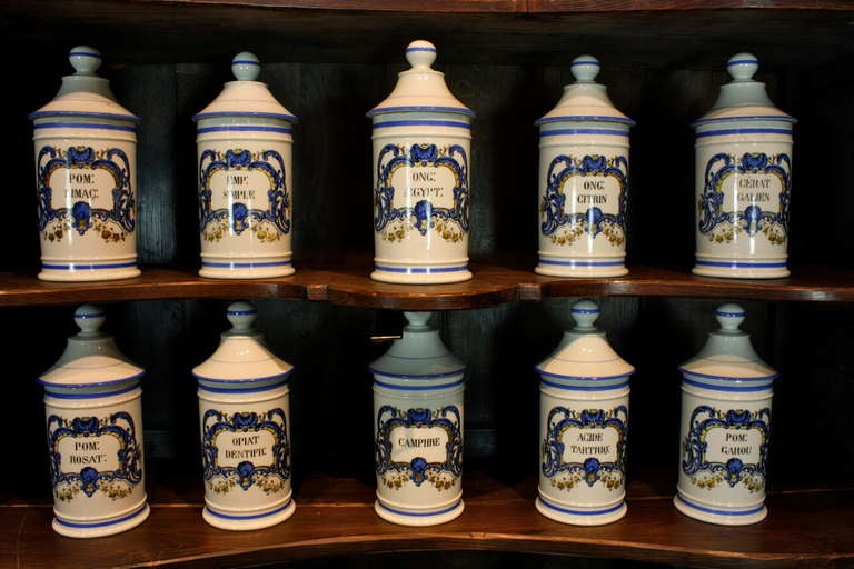 Set French Porcelain Apothecary Jars with Painted Decoration and Mark For Sale 4