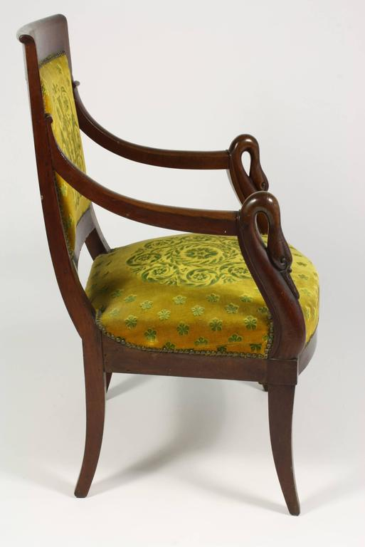 19th Century French Empire Period Mahogany Armchair with Swans' Heads For Sale