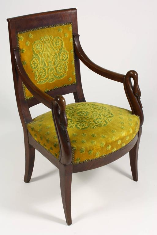French Empire Period Mahogany Armchair With Swansu0027 Heads 3
